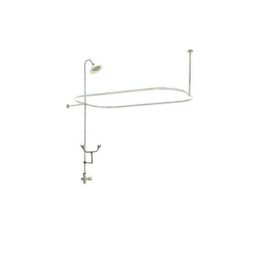 Satin Nickel Clawfoot Tub Shower Conversion Kit With Enclosure Curtain Rod  10060SN