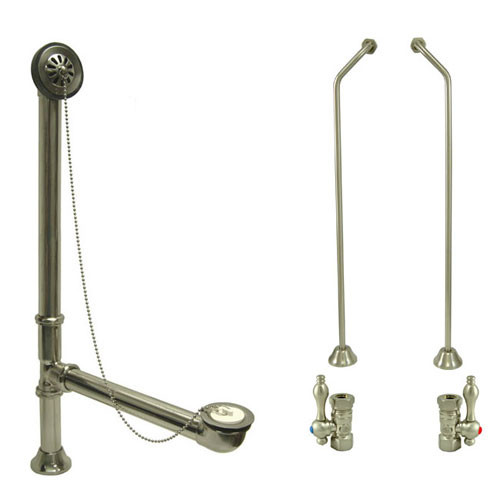 Nickel Clawfoot Tub Hardware Kit Drain, Double Offset Supply lines, Lever Stops