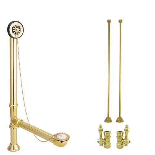 Brass Clawfoot Tub Hardware Kit Drain, Straight Supply lines, Lever Stops