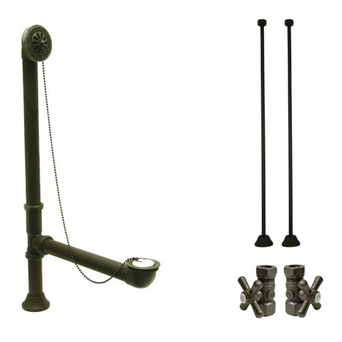 Bronze Clawfoot Tub Hardware Kit Drain, Straight Supply lines, Cross Stops