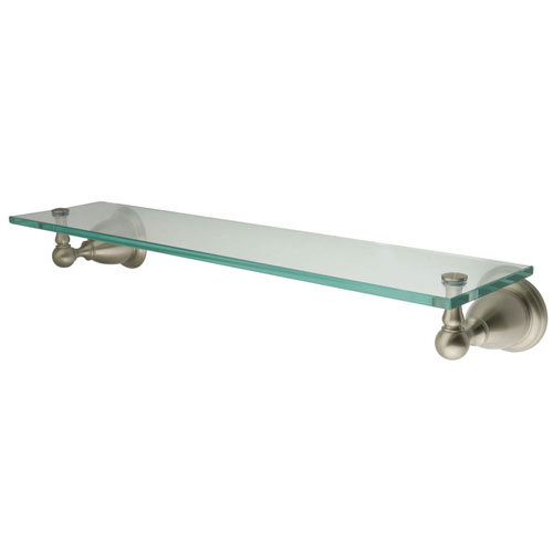Kingston Tempered Bathroom Glass Shelves Satin Nickel Glass Shelf BA1759SN