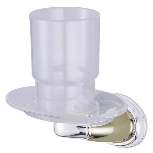 Kingston Satin Nickel/Chrome Magellan ii toothbrush/tumbler holder BA626SNCP
