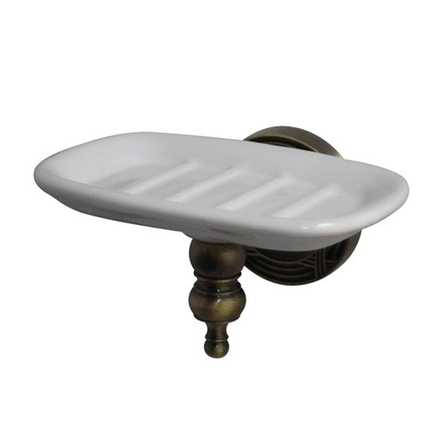 Kingston Brass Antique Brass Templeton Ceramic Wall Mounted Soap Dish BA9915AB