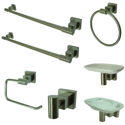 Kingston Brass Claremont Satin Nickel Bathroom Accessory Combination BAHK8641SN