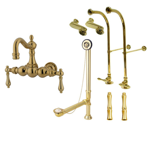Freestanding Floor Mount Polished Brass Metal Lever Handle Clawfoot Tub Filler Faucet Package 1001T2FSP