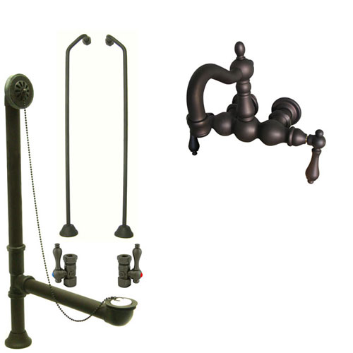Oil Rubbed Bronze Wall Mount Clawfoot Tub Faucet Package w Drain Supplies Stops CC1001T5system