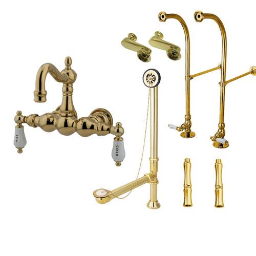 Freestanding Floor Mount Polished Brass Hot/Cold Porcelain Lever Handle Clawfoot Tub Filler Faucet Package 1003T2FSP