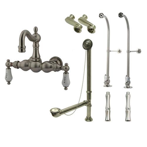 Freestanding Floor Mount Satin Nickel Hot/Cold Porcelain Lever Handle Clawfoot Tub Filler Faucet Package 1003T8FSP