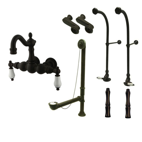 Freestanding Floor Mount Oil Rubbed Bronze White Porcelain Lever Handle Clawfoot Tub Filler Faucet Package 1005T5FSP