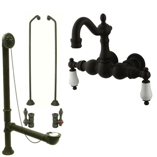 Oil Rubbed Bronze Wall Mount Clawfoot Tub Faucet Package w Drain Supplies Stops CC1005T5system