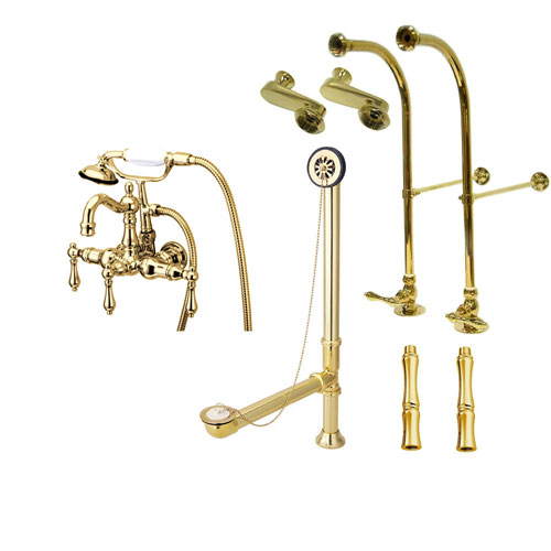 Freestanding Floor Mount Polished Brass Metal Lever Handle Clawfoot Tub Filler Faucet with Hand Shower Package 1007T2FSP