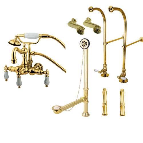 Freestanding Floor Mount Polished Brass Hot/Cold Porcelain Lever Handle Clawfoot Tub Filler Faucet with Hand Shower Package 1009T2FSP