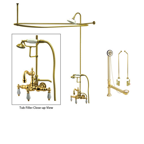 Polished Brass Clawfoot Tub Faucet Shower Kit with Enclosure Curtain Rod 1009T2CTS