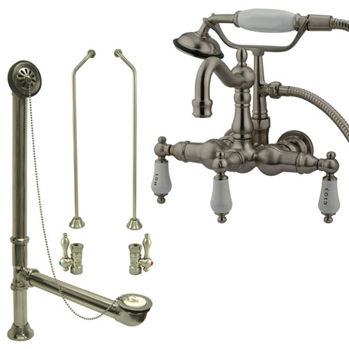 Satin Nickel Wall Mount Clawfoot Tub Faucet w hand shower w Drain Supplies Stops CC1009T8system