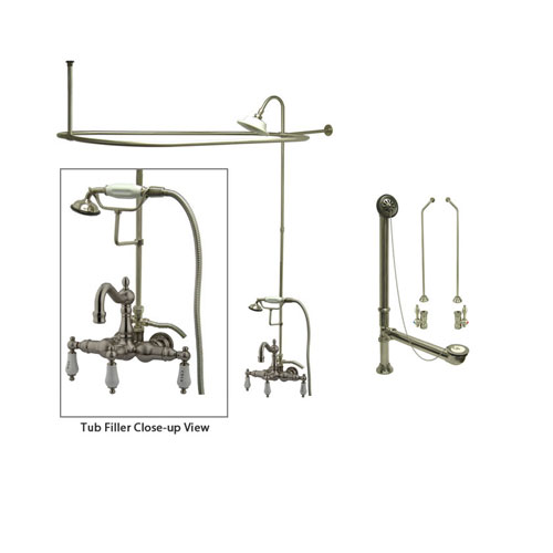 clawfoot tub and shower package. Satin Nickel Clawfoot Tub Faucet Shower Kit with Enclosure Curtain Rod  1009T8CTS Buying Guide Part 2 Add a FaucetList com