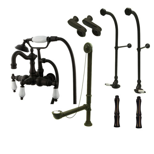 Freestanding Floor Mount Oil Rubbed Bronze White Porcelain Lever Handle Clawfoot Tub Filler Faucet with Hand Shower Package 1011T5FSP