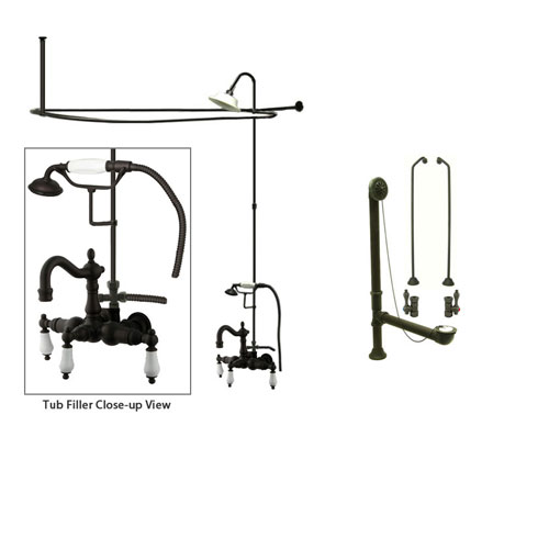 Oil Rubbed Bronze Clawfoot Tub Faucet Shower Kit with Enclosure Curtain Rod 1011T5CTS