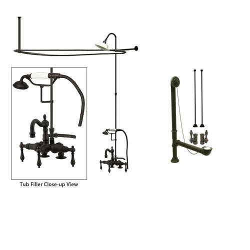 Oil Rubbed Bronze Clawfoot Tub Faucet Shower Kit with Enclosure Curtain Rod 1013T5CTS