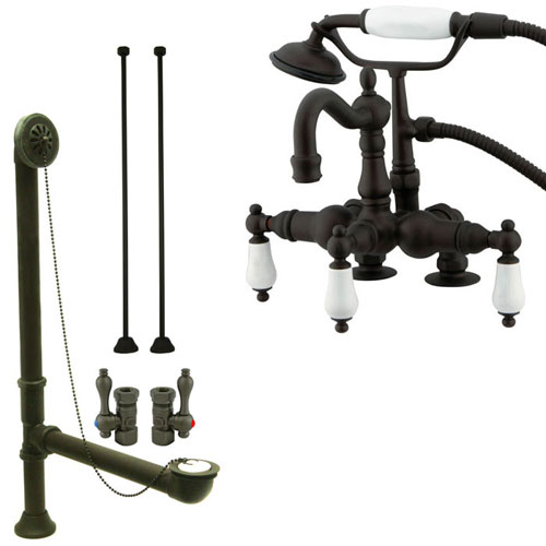Oil Rubbed Bronze Deck Mount Clawfoot Tub Faucet Package w Drain Supplies Stops CC1015T5system