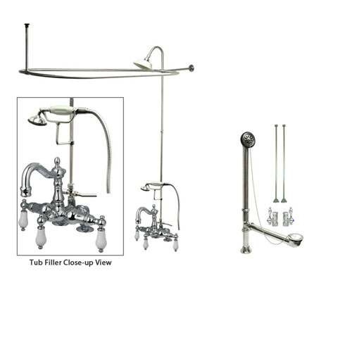 Chrome Clawfoot Tub Faucet Shower Kit with Enclosure Curtain Rod 1016T1CTS