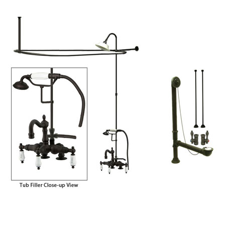Oil Rubbed Bronze Clawfoot Tub Faucet Shower Kit with Enclosure Curtain Rod 1017T5CTS