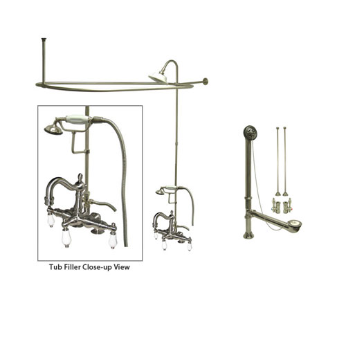 Satin Nickel Clawfoot Tub Faucet Shower Kit with Enclosure Curtain Rod 1017T8CTS