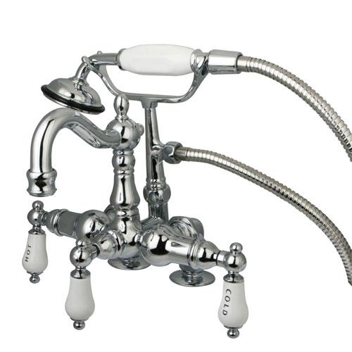 Kingston Chrome Deck Mount Clawfoot Tub Faucet w hand shower CC1018T1