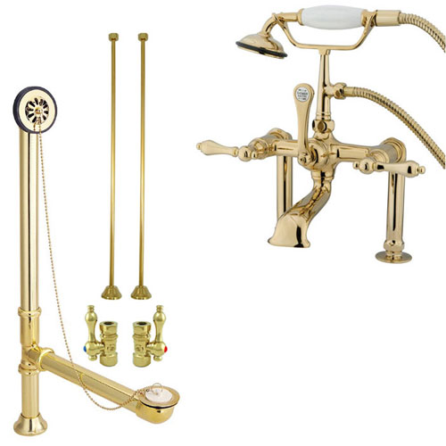 Polished Brass Deck Mount Clawfoot Tub Filler Faucet w Hand Shower Package CC103T2system