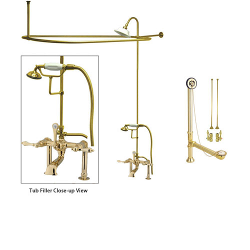 Polished Brass Clawfoot Tub Faucet Shower Kit with Enclosure Curtain Rod 103T2CTS