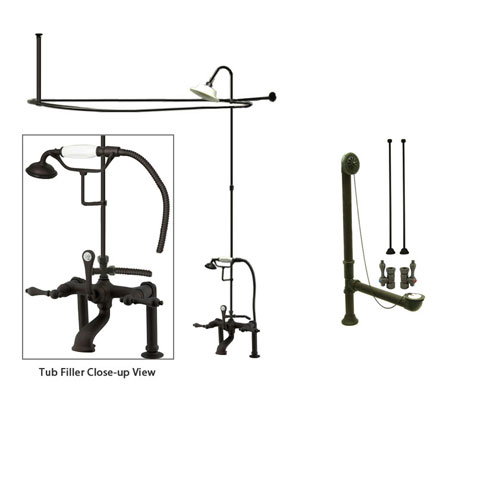 Oil Rubbed Bronze Clawfoot Tub Faucet Shower Kit with Enclosure Curtain Rod 103T5CTS