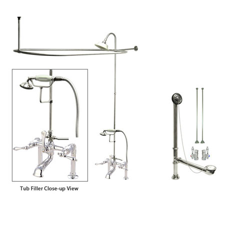 Chrome Clawfoot Tub Faucet Shower Kit With Enclosure Curtain Rod 104t1
