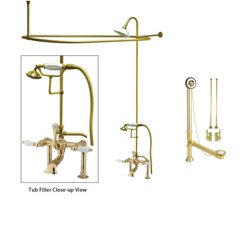 Polished Brass Clawfoot Tub Faucet Shower Kit with Enclosure Curtain Rod 105T2CTS