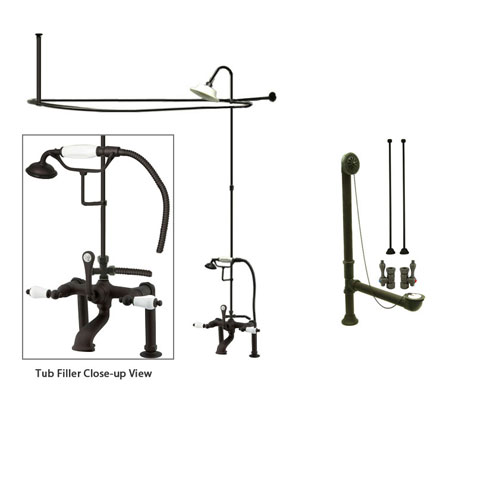 Oil Rubbed Bronze Clawfoot Tub Shower Faucet Kit with Enclosure Curtain Rod 105T5CTS