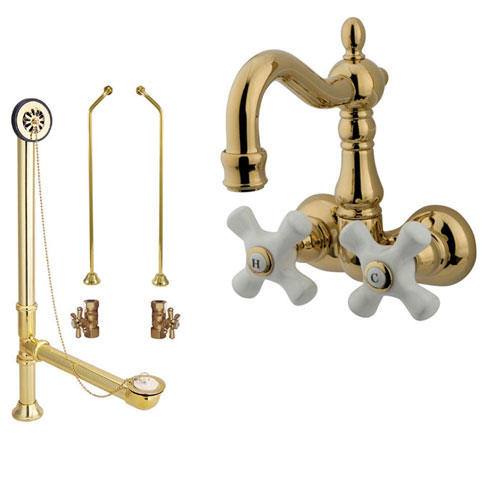 Polished Brass Wall Mount Clawfoot Tub Faucet Package w Drain Supplies Stops CC1079T2system