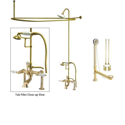 Polished Brass Clawfoot Tub Faucet Shower Kit with Enclosure Curtain Rod  107T2CTS