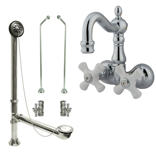 Chrome Wall Mount Clawfoot Tub Faucet Package w Drain Supplies Stops CC1080T1system