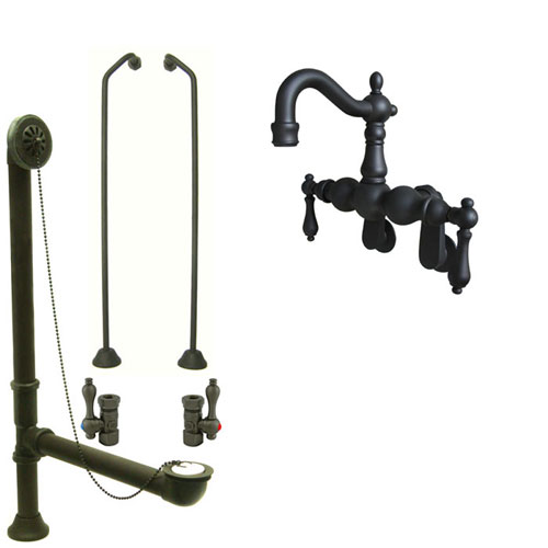 Oil Rubbed Bronze Wall Mount Clawfoot Tub Faucet Package w Drain Supplies Stops CC1081T5system