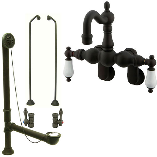 Oil Rubbed Bronze Wall Mount Clawfoot Tub Faucet Package w Drain Supplies Stops CC1083T5system
