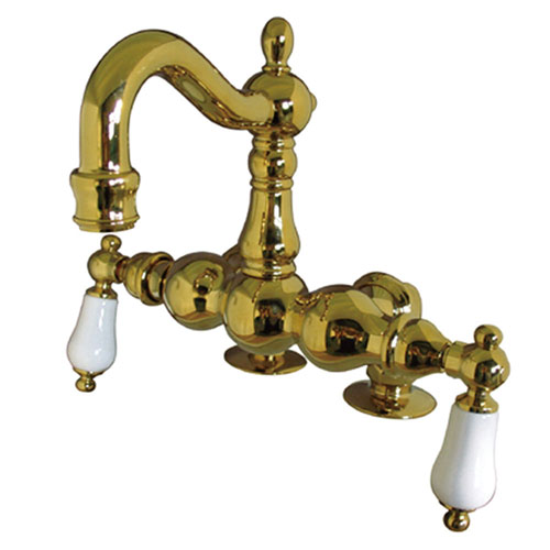 Kingston Brass Polished Brass Deck Mount Clawfoot Tub Faucet CC1093T2
