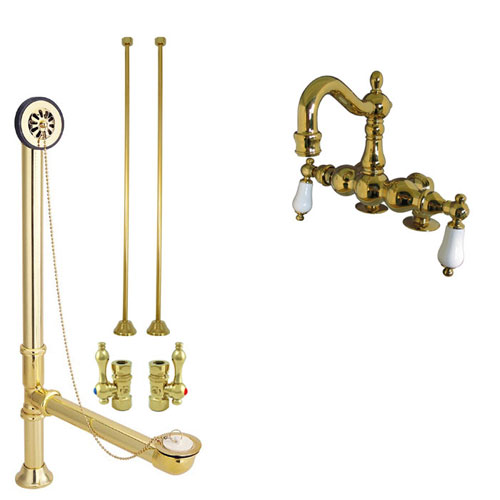 Polished Brass Deck Mount Clawfoot Tub Faucet Package w Drain Supplies Stops CC1093T2system