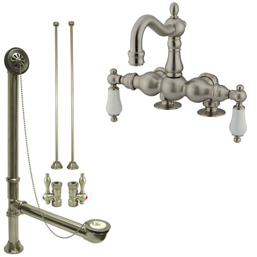 Satin Nickel Deck Mount Clawfoot Tub Faucet Package w Drain Supplies Stops CC1093T8system
