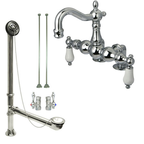 Chrome Deck Mount Clawfoot Tub Faucet Package w Drain Supplies Stops CC1094T1system