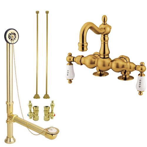 Polished Brass Deck Mount Clawfoot Tub Faucet Package w Drain Supplies Stops CC1095T2system