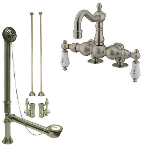 Satin Nickel Deck Mount Clawfoot Tub Faucet Package w Drain Supplies Stops CC1095T8system