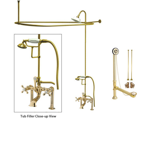 Polished Brass Clawfoot Tub Faucet Shower Kit with Enclosure Curtain Rod 109T2CTS