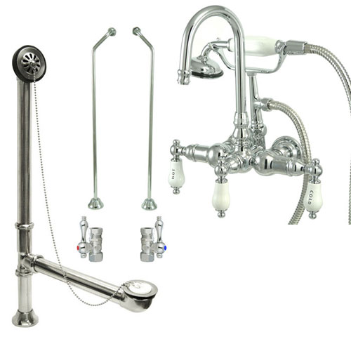 Chrome Wall Mount Clawfoot Tub Filler Faucet w Hand Shower Package CC10T1system