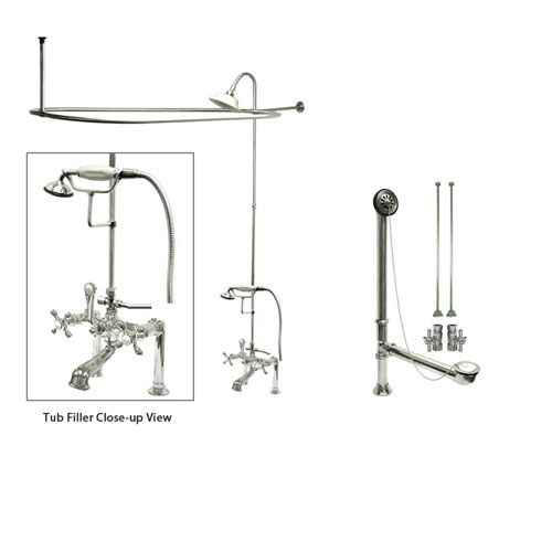 Chrome Clawfoot Tub Faucet Shower Kit with Enclosure Curtain Rod 110T1CTS