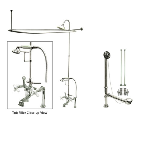Chrome Clawfoot Tub Faucet Shower Kit With Enclosure Curtain Rod 112T1 Fauc