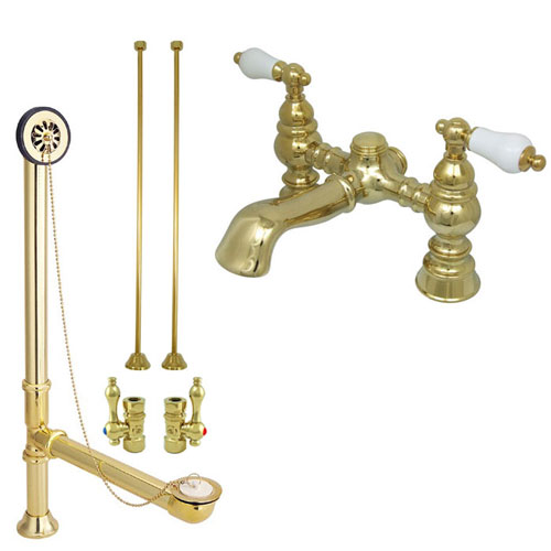 Polished Brass Deck Mount Clawfoot Tub Faucet Package w Drain Supplies Stops CC1130T2system