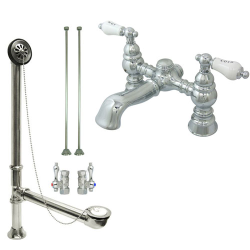 Chrome Deck Mount Clawfoot Tub Faucet Package W Drain Supplies Stops C Fauc